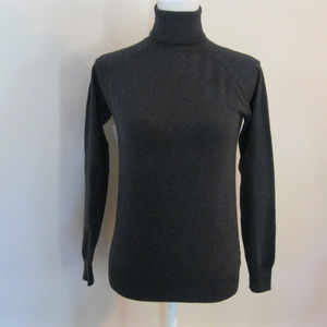 Zara Charcoal Gray Cotton Turtleneck